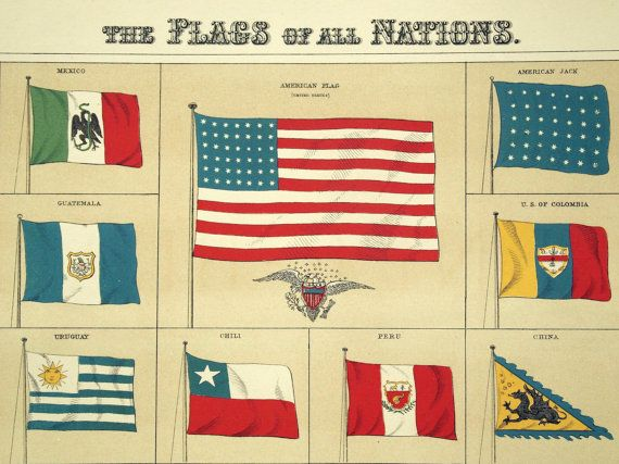 1890 Large Special Library Edition Antique Chromolithograph of the Flags of All Nations