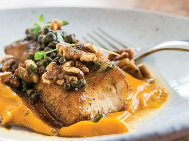 Pan-roasted cobia with sweet potato and maple syrup puree recipe
