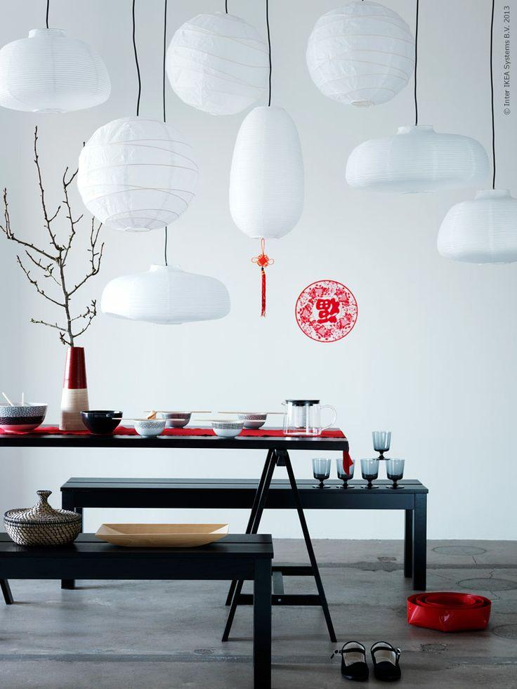 Fira in det kinesiska nyåret! VÄTE taklampskärmar, REGOLIT taklampskärm, BJURSTA bänk, VIKA LILLEBY benbock.