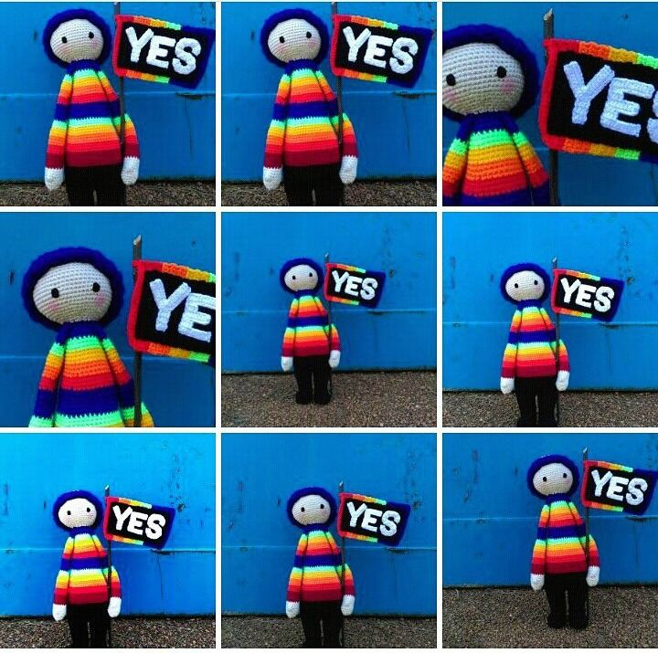 YES! Rainbow Doll - Collage.... supporting marriage equality in Australia.   Project information and pattern link here;   http://www.ravelry.com/projects/LindaDavie/lalylala-paul-the-toadstool-15