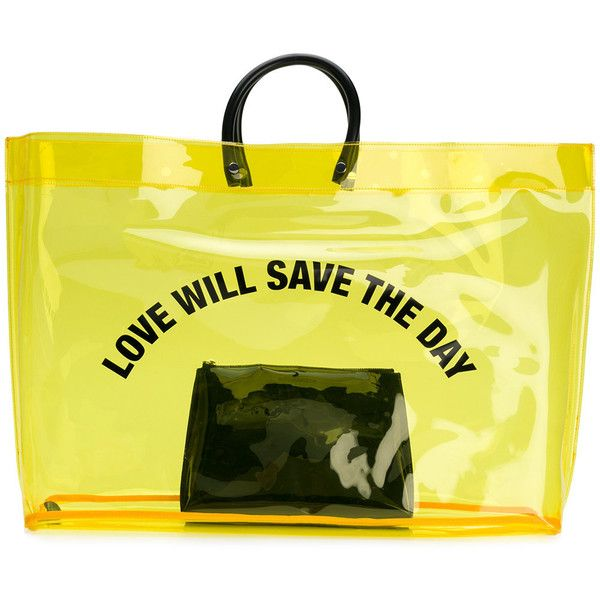 Dsquared2 Love Will Save The Day shopper ($275) ❤ liked on Polyvore featuring bags, handbags, tote bags, yellow tote bag, transparent handbags, lightweight tote, lightweight purses and utility tote bag