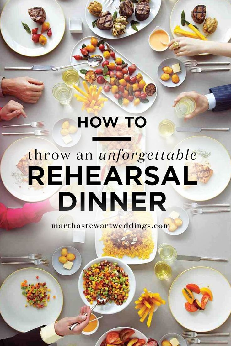 How to Throw an Unforgettable Rehearsal Dinner | Martha Stewart Weddings - Your rehearsal dinner shouldn't compete with the actual wedding. However, that doesn't mean it should be devoid of delicious food and fun touches! Treat the celebration as a pre-party, where guests leave craving more—and lucky for them, you're going to deliver the next day. Here, the ins and outs of pulling off a memorable, mood-setting evening.