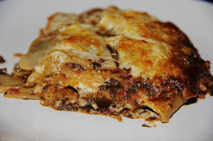 Löwenzahn-Brennnessel-Lasagne (Variante: Bärlauch-Rucola-Lasagne)