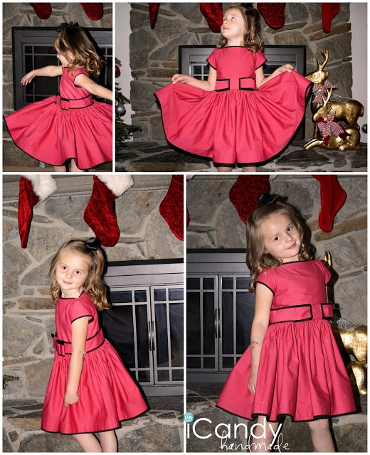 Girls Winter Rose Dress tutorial and free pattern by iCandy handmade