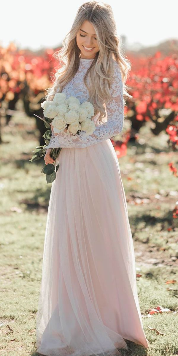 Bridal Inspiration: 27 Rustic Wedding Dresses ❤ rustic wedding dresses straight blush high neckline lace long sleeves bliss tulle ❤ See more: http://www.weddingforward.com/rustic-wedding-dresses/ #weddingforward #wedding #bride
