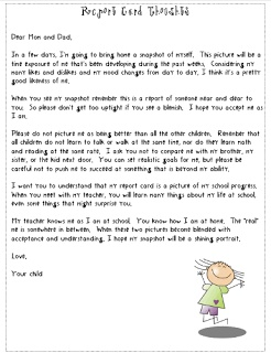 "Letter to parents about maintaining a healthy perspective on report cards. Also see the linked ""perfect report card"" additional comment sheet"