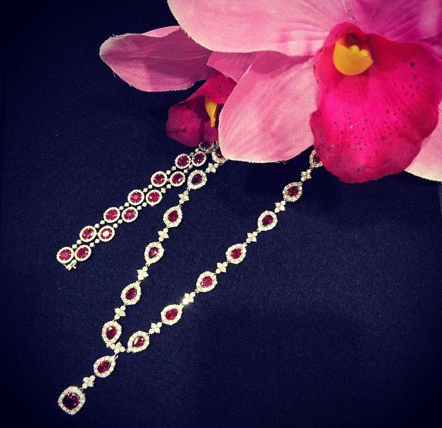 Ruby and diamond necklace and bracelet set