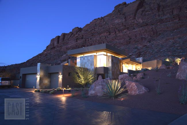 Modern architecture with a southwestern theme brought to life with landscape lighting design featuring CAST lighting fixtures. Pin it!