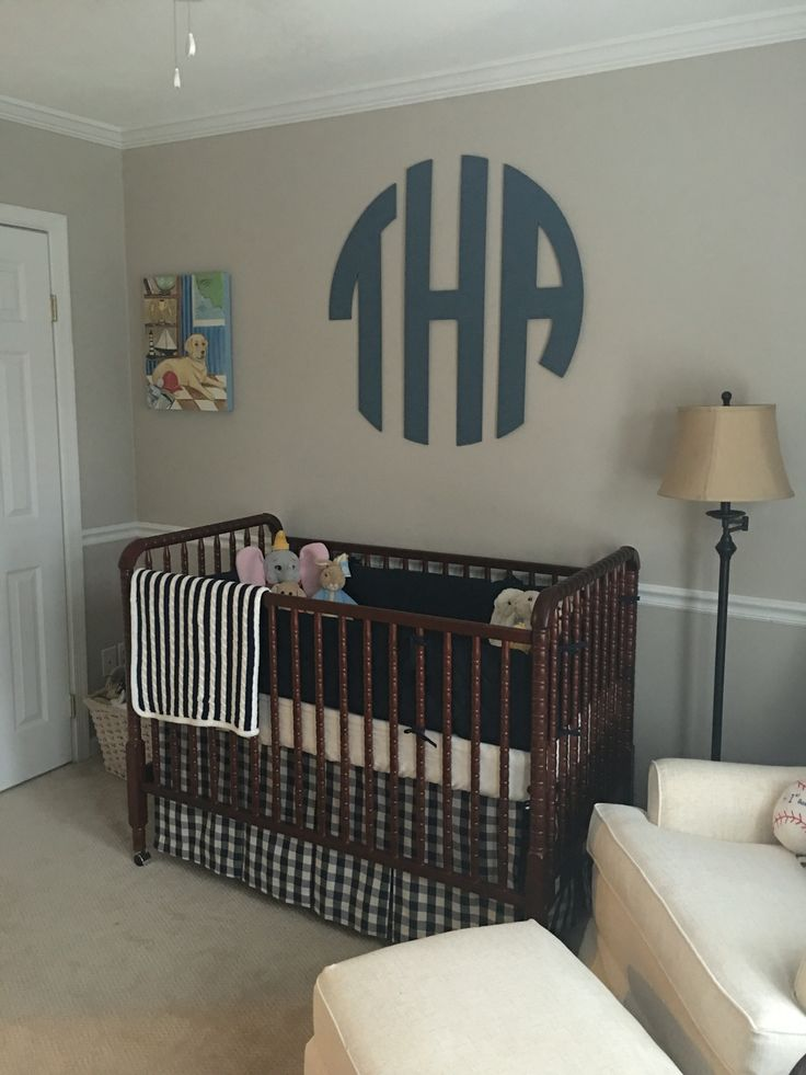 TJs Baby Boy Nursery // Monogram // Jenny Lind Crib // Pottery Barn Kids // Gingham // Buffalo Check   #babyboy #nursery #gallerywall #babyboynursery #blue #neutral #navyblue #gingham #buffalocheck #baseball #chalkpaint #traditionalnursery #monogram #jennylindcrib