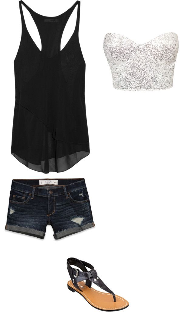 #summer #outfits / Back Tank Top + Silver Bandeau Top