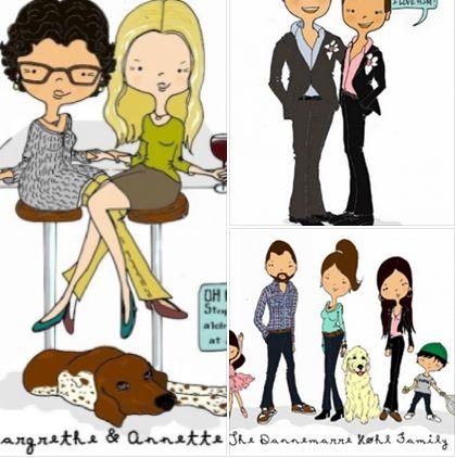 Hvem har betydning for dig i dit liv?? måske du kunne se dem illustreret som en tegneserie figur... Helle Høhl Illustration / Personlige familie portrætter i tegneseriestil (6 pesoner eller dyr) http://www.amioamio.com/da/produkt/161560/  LEV AF DIN KUNST - få en gratis smagsprøve på hvordan du selv kan tænke nye muligheder i din kunst kombineret med de sociale medier  Log ind her GRATIS…