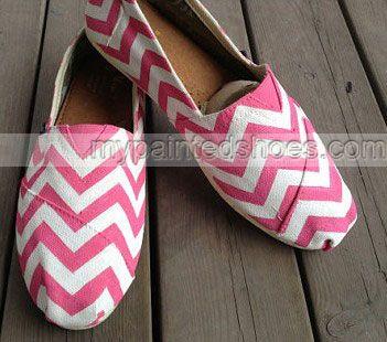 PINK Chevron Chevron New Style Chevron Shoes Slip-on Painted Can,Slip-on Painted Canvas Shoes