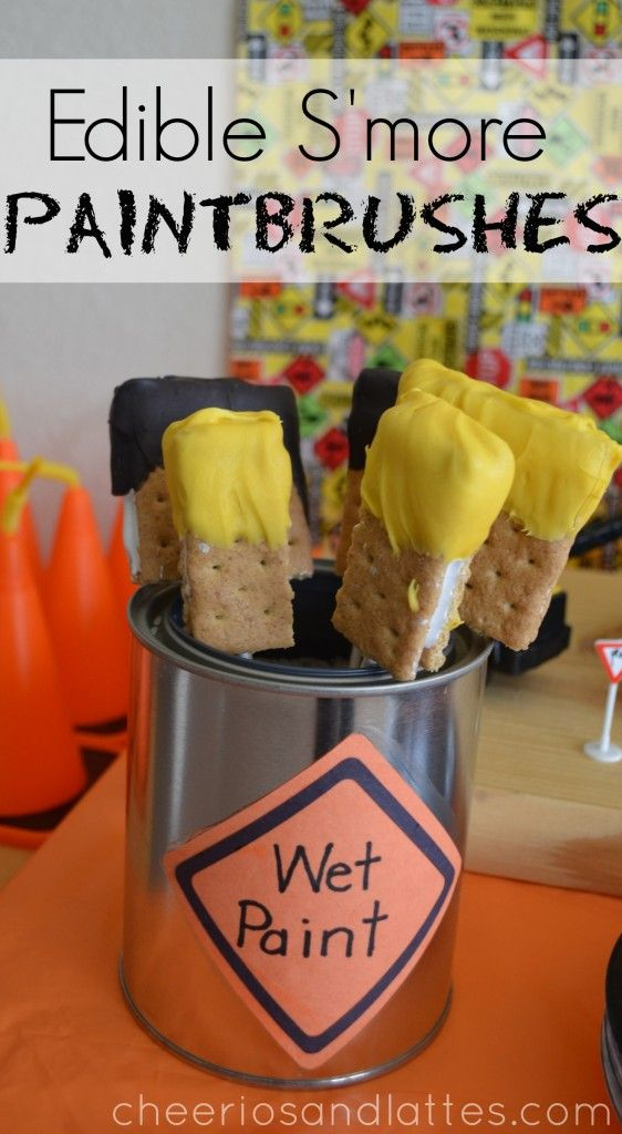 Edible S'more Paintbrushes: Construction Themed Kids Party Ideas by Cheerios & Lattes #birthdaytreats #smores