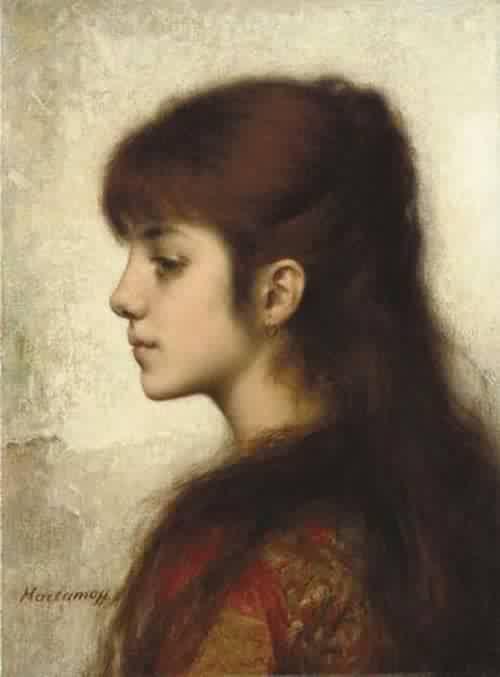 Contemplation by Alexei Alexeievich Harlamoff (1840-1925, Russia)