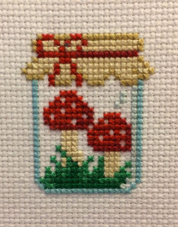 Mushroom Jar Cross Stitch Pattern by SnailFishesStitches on Etsy                                                                                                                                                                                 More