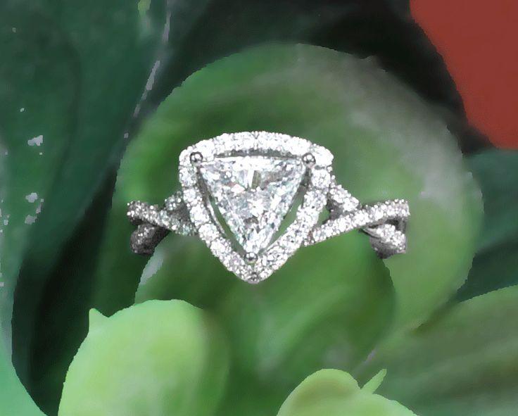 Unique Halo Trillion Cut Diamond Engagement Ring in 14 Karat White Gold