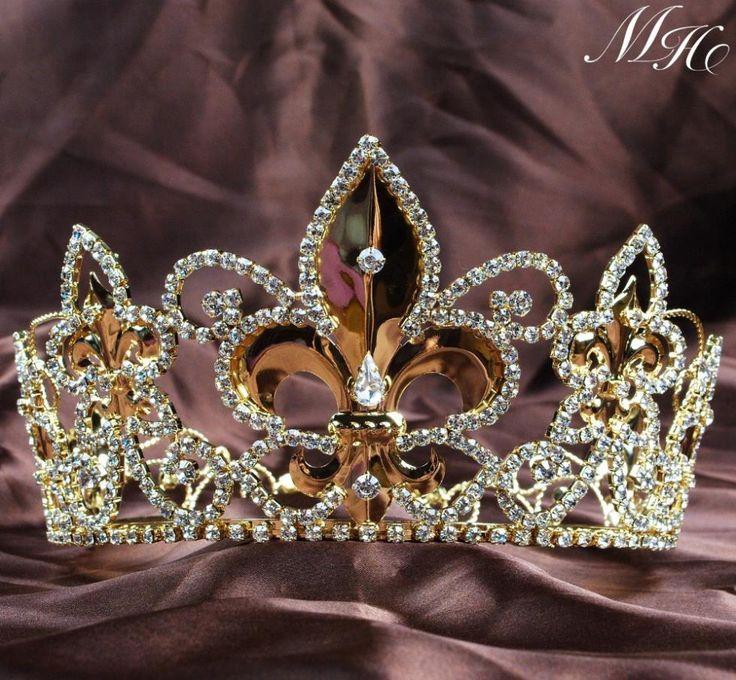 Chapeamento De ouro Imperial Medieval Unisex Tiaras flor De Lis rei / rainha Crown círculo De trajes De festa Pageant