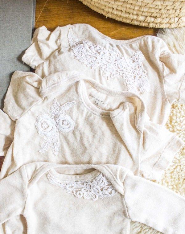 » vintage lace appliqued onesies