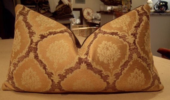 "One Scalamandre Colony Collection Bronze ""ECUSSONS"" Italian Chenille Custom Down Lumbar Pillow - Brunschwig Jagtar ""Roma"" Back - 13"" by 19"""