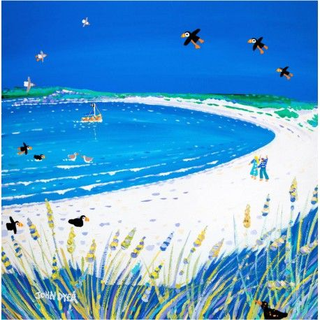 Three Puffins sail across the deep blue sky. A perfect composition by artist John Dyer that creates a huge sense of depth and space in this classic John Dyer print. The brilliantwhite sands of Pentle Bay on the island of Tresco sweep away into the distance while the sea gently laps at the edge. A couple walk along the beach and a lone boat enters the bay. A calm and relaxing contemporary print.