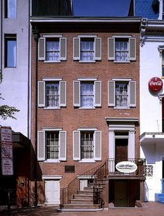 *PETERSEN HOUSE ~ where Abraham Lincoln was carried and died after assassin John Wilkes Booth mortally wounded him across the street at Ford's Theatre, Washington, D.C. [As house stands and looks today]