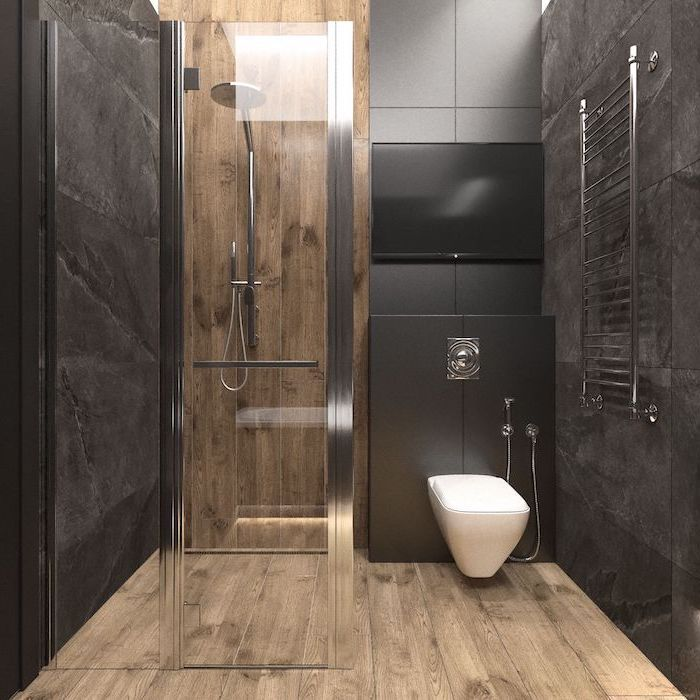 Wooden Floor Black Tiled Wall Bathroom Designs For Small Spaces Large Shower Head Toilet Bowl In 2020 Modern Bathroom Design Modern Bathroom Bathroom Layout