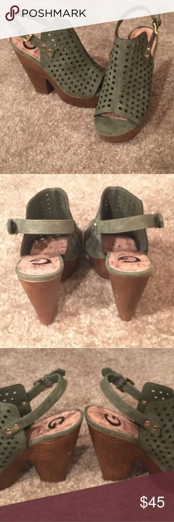 Brand new wedges Leather olive green wedges with strap. Wood like heel. Guess Shoes Wedges