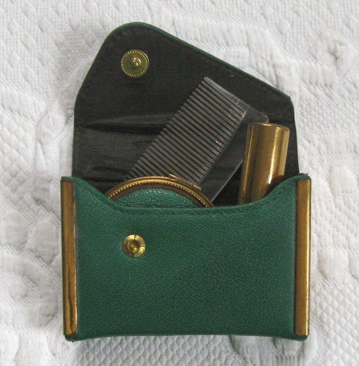 vanity case . lipstick, compact and comb in case .  green leather vanity case . travel case . leather travel case by vintagous on Etsy