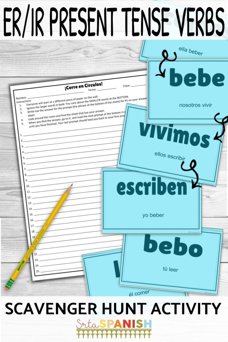 Need Something Fun For Present Tense Er Ir Verbs Check Out This Scavenger Hunt Game Your Spani Spanish Lesson Plans High School Spanish Middle School Spanish [ 1104 x 736 Pixel ]