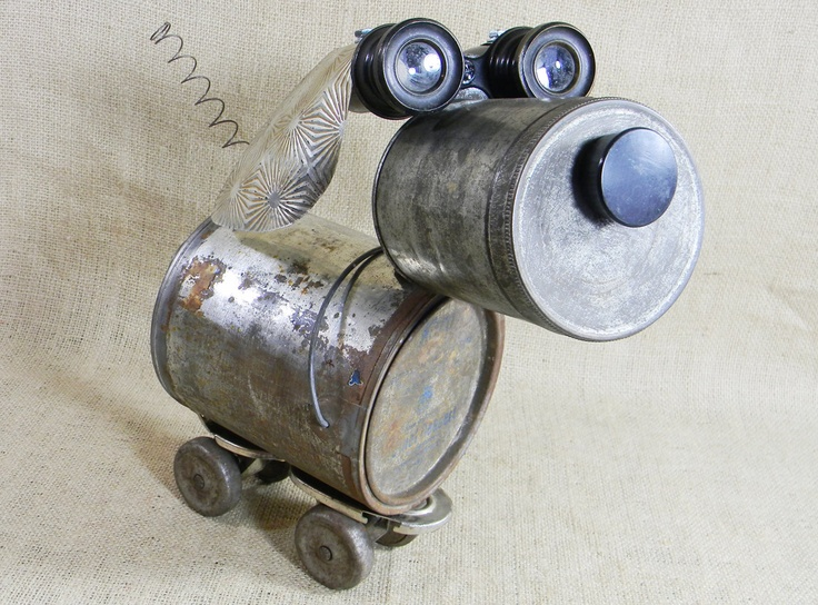 dog sculpture - Recycled tin - LIZZY - robot dog ...