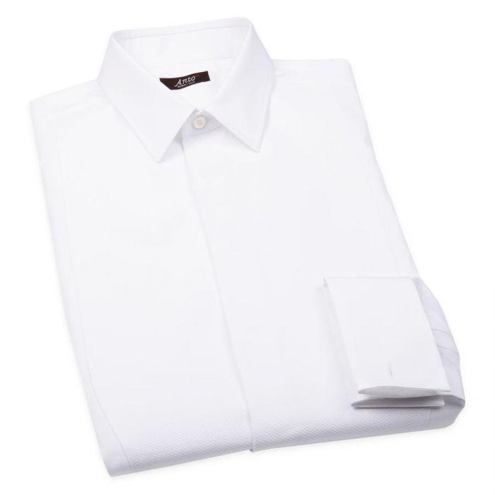 White Tuxedo Shirt With Pique Bib As Seen On The Red Carpet   Mens Tuxedo Shirt