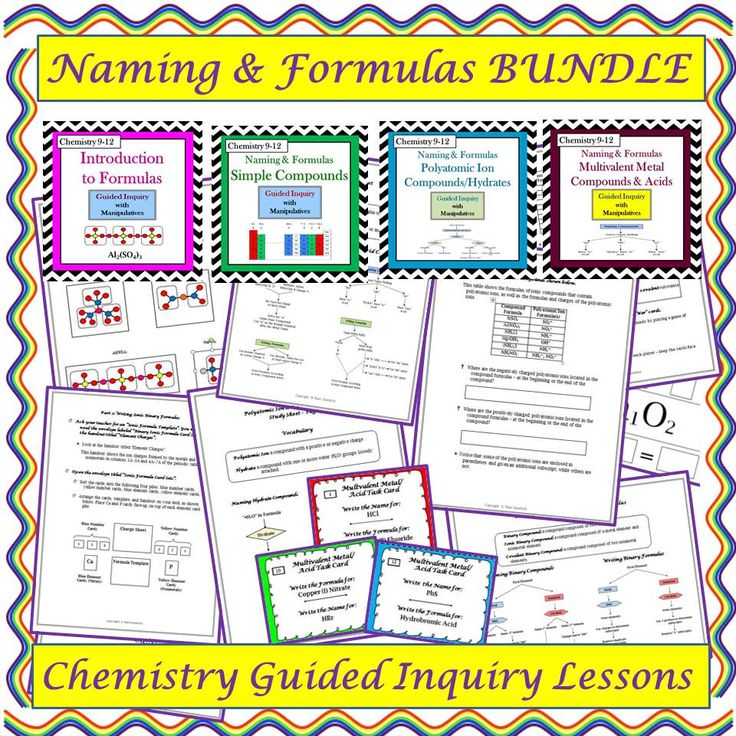 These Four student-centered, guided inquiry lessons enable students to construct their own understanding of chemical compound naming and formula writing. Students are able to actively learn the material without lecture or note taking. This bundle contains the following four lessons: Introduction to Formulas, Simple Ionic & Covalent Compounds, Polyatomic Ion Compounds & Hydrates, Multivalent Metal Compounds & Acids.