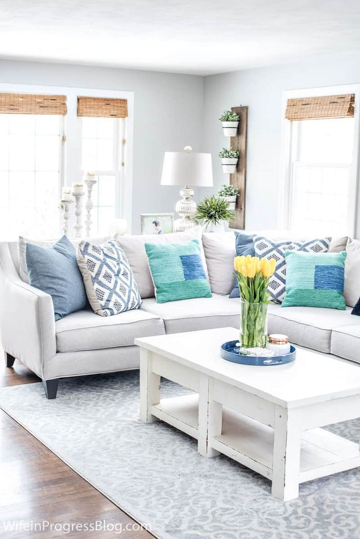Navy Blue Green Decorating Ideas A Spring Living Room Refresh Blue Living Room Decor Green Living Room Decor Blue And Green Living Room