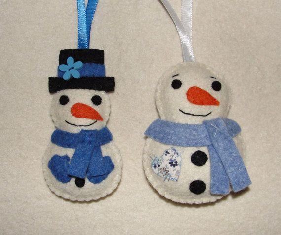 Wool Felt Snowman Ornament Snowman Ornament Felt