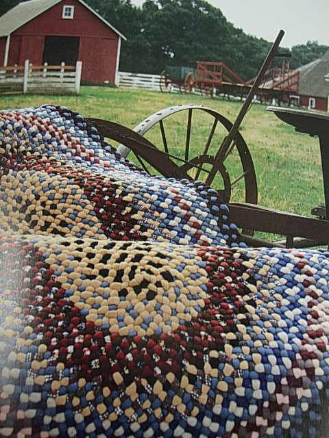 Hand Made Scrap Rug & Barn In Background (my Mom made wool rugs like this for years)
