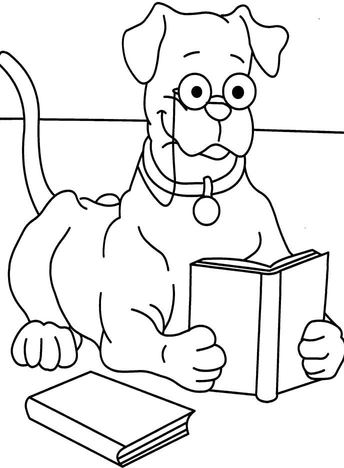 Coloring Pages Of Animals Reading : Animals reading books coloring pages best free