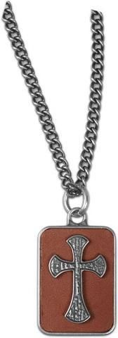 Guy's Necklace - Leather Cross