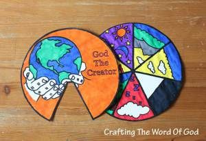 All sorts of Crafting the Word of God projects.  This is a creation wheel (and many others)  also, look at: http://icsjreligionresources.blogspot.com/  for a collection of religion resources