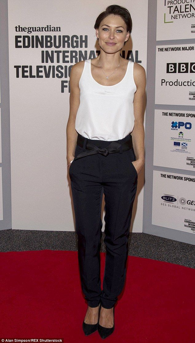 Chic: Emma Willis was looking chic and relaxed in Edinburgh on Wednesday night, ahead of T...