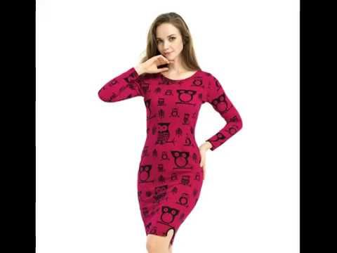 2016 Fashion Owl Pattern Womens Winter Dress Sexy Bodycon Party Dresses O-neck Long Sleeve Vintage