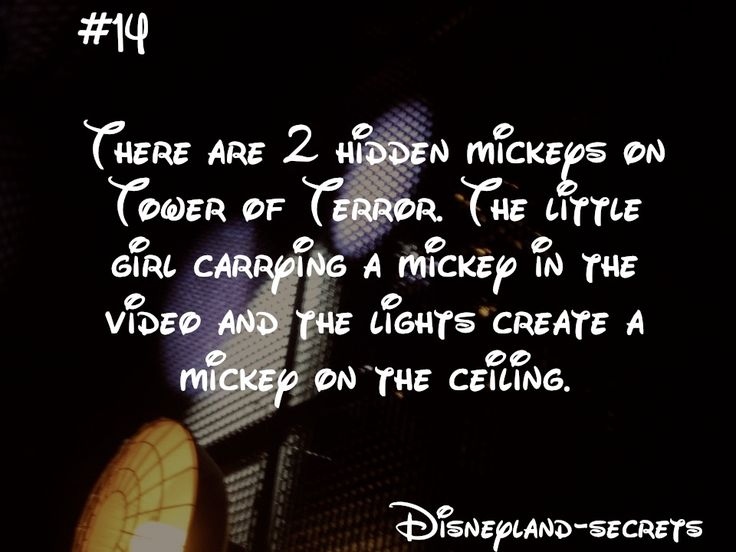 Disneyland Secret #14: There are 2 hidden Mickeys on Tower of Terror. The little girl carrying a Mickey in the video and the lights create a Mickey on the ceiling.