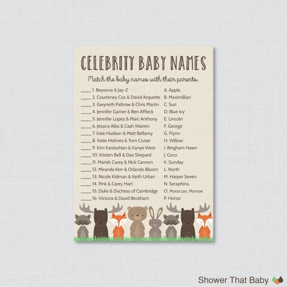Celebrity Baby Shower Game Printable  Woodland by ShowerThatBaby