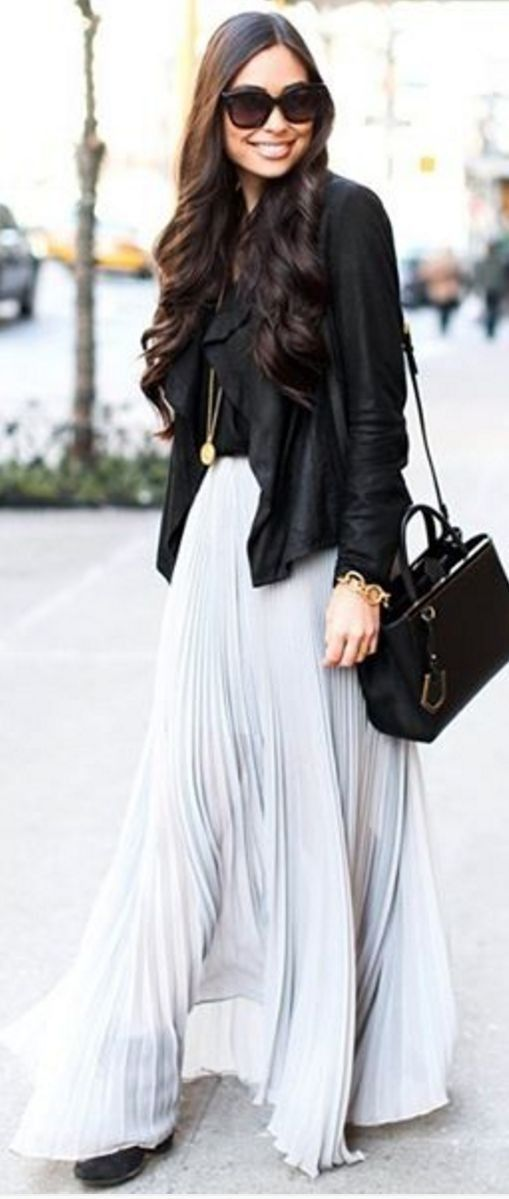#spring #summer #street #style #outfitideas |Black Top + Grey Pleat Maxi Skirt                                                                             Source