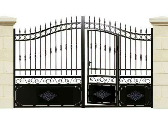 35 best images about portail on pinterest iron gates for Portail coulissant avec portillon integre