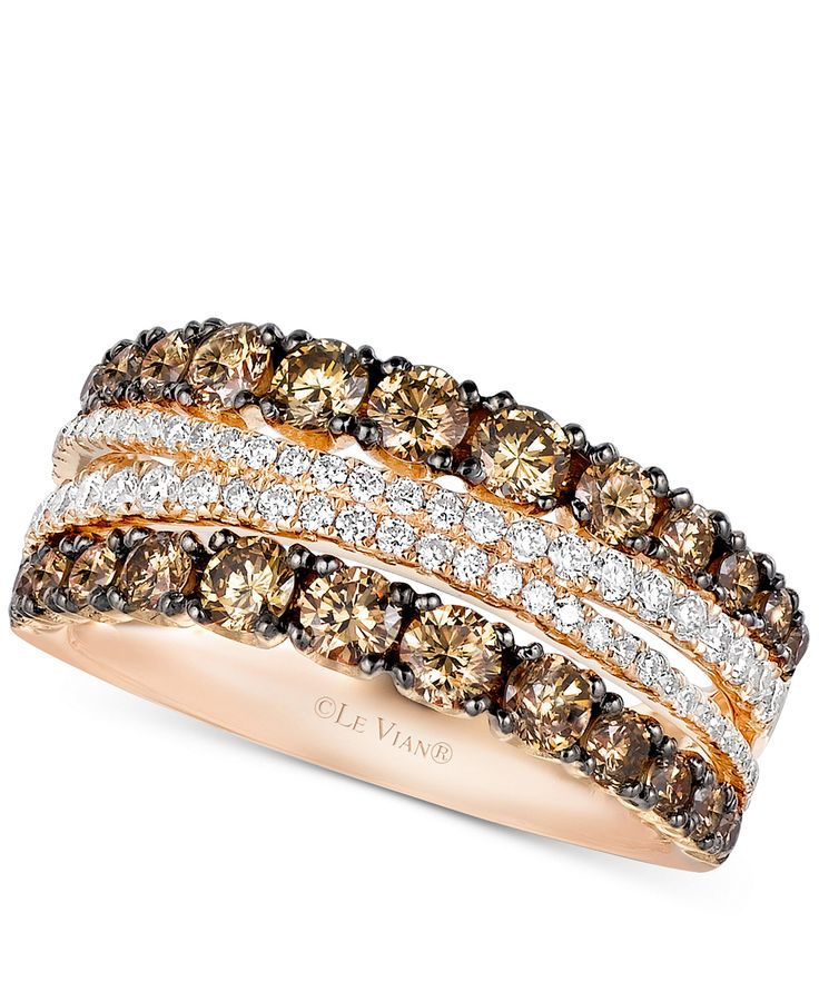 Le Vian Chocolatier� Chocolate and White Diamond Ring (1-3/8 ct. t.w.) in 14k Rose Gold - Rings - Jewelry & Watches - Macy's