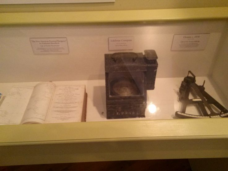 From left to right: Practical Navigator book,  Lifeboat Compass, Octant circa 1830's. Photo taken 2014 in the Fishing Gallery at Atwood House Museum, Chatham, MA. #fishing, #chatham, #chathamhistoricalsociety, #atwoodhouse, #capecod