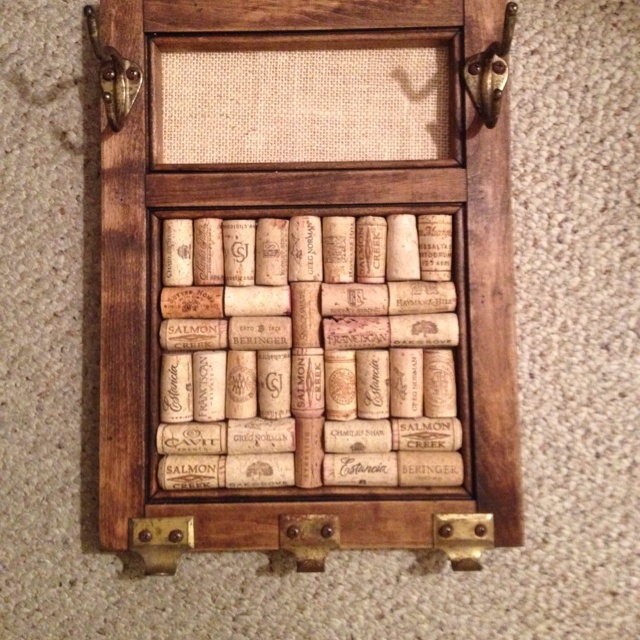Add Pins In The Corks To Hang Earrings. Necklaces On The Vintage Hardware.  Made With A Salvaged Cabinet Door. Part 38