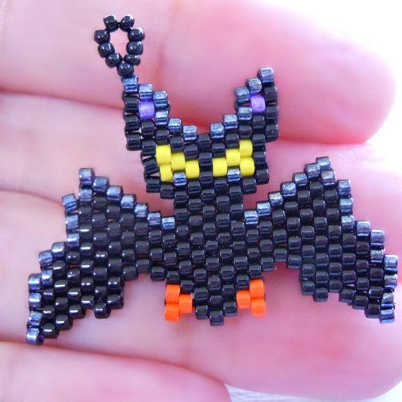 Seed Bead Pattern, Peyote Stitch Bead Weaving - Halloween Bat