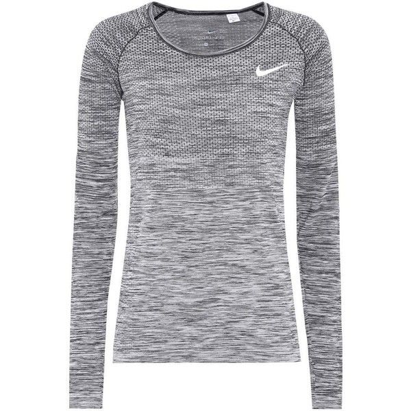 Nike Dri-Fit Knit Long-Sleeved Top ($84) ❤ liked on Polyvore featuring tops, grey, long sleeve knit tops, long sleeve tops, nike top, knit top and nike