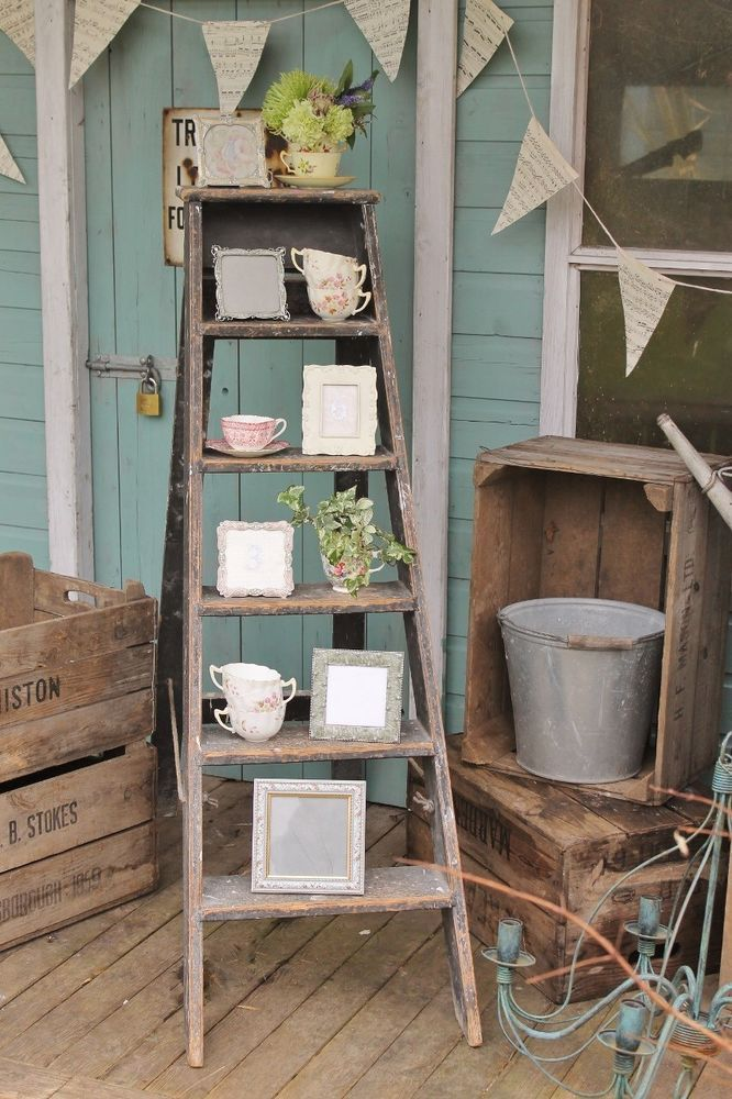 For Sale Nice Set Of Old Wooden Step Ladders Ideal For Shabby Chic Project Or Wedding Venue Decoration Front Porch Decorating Porch Decorating Old Ladder Decor